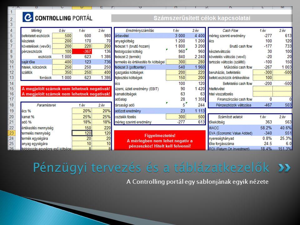 A Controlling portál egy sablonjának egyik nézete Pénzügyi tervezés és a táblázatkezelők