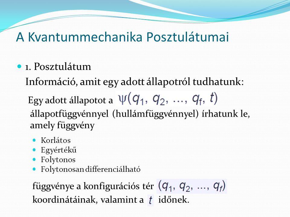 A Kvantummechanika Posztulátumai 1. Posztulátum Információ, amit egy adott állapotról tudhatunk: Egy adott állapotot a állapotfüggvénnyel (hullámfüggv