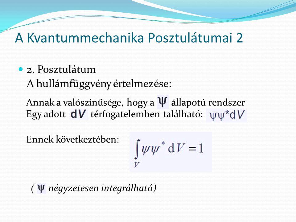 A Kvantummechanika Posztulátumai 2 2. Posztulátum A hullámfüggvény értelmezése: Annak a valószínűsége, hogy a állapotú rendszer Egy adott térfogatelem