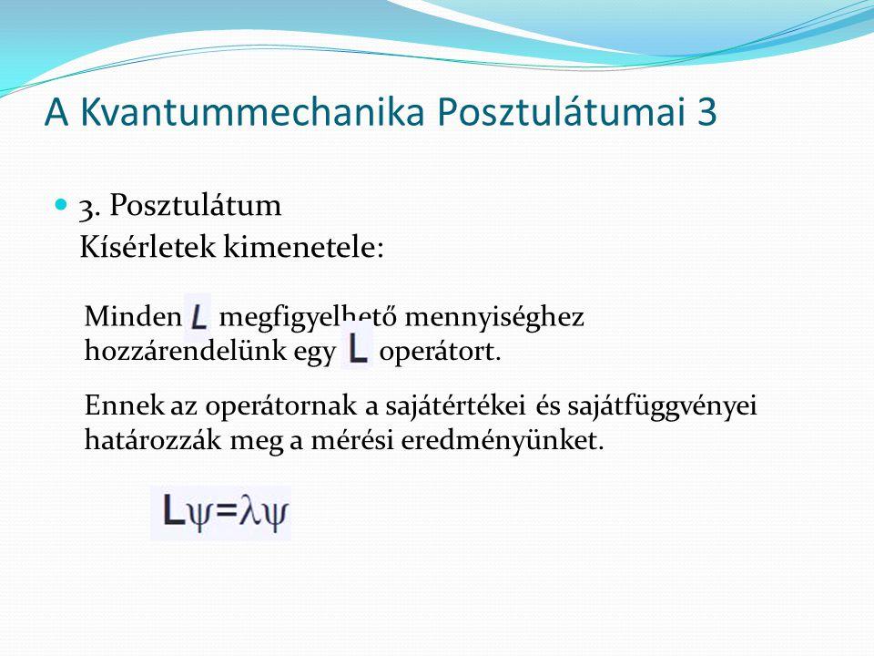 3. Posztulátum Kísérletek kimenetele: A Kvantummechanika Posztulátumai 3 Minden megfigyelhető mennyiséghez hozzárendelünk egy operátort. Ennek az oper
