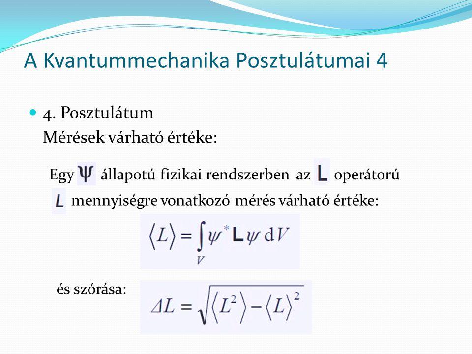 4. Posztulátum Mérések várható értéke: A Kvantummechanika Posztulátumai 4 Egy állapotú fizikai rendszerbenaz operátorú mennyiségre vonatkozó mérés vár