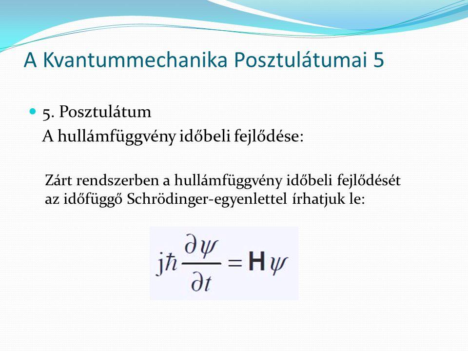 5. Posztulátum A hullámfüggvény időbeli fejlődése: A Kvantummechanika Posztulátumai 5 Zárt rendszerben a hullámfüggvény időbeli fejlődését az időfüggő