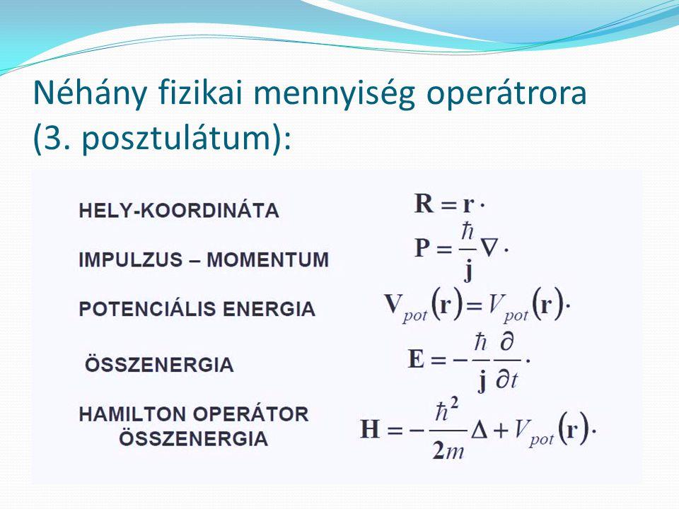 Néhány fizikai mennyiség operátrora (3. posztulátum):