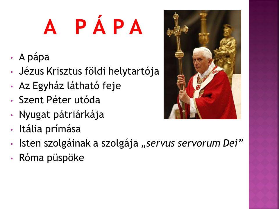 """A pápa Jézus Krisztus földi helytartója Az Egyház látható feje Szent Péter utóda Nyugat pátriárkája Itália prímása Isten szolgáinak a szolgája """"servus"""