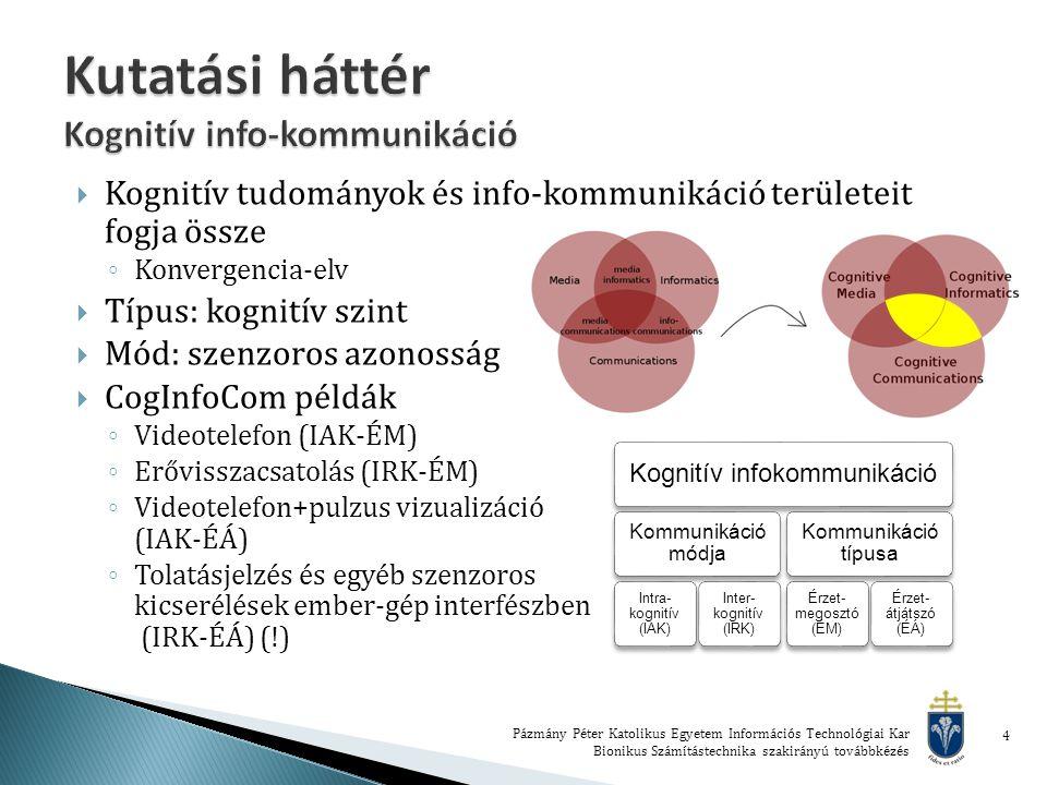 4  Kognitív tudományok és info-kommunikáció területeit fogja össze ◦ Konvergencia-elv  Típus: kognitív szint  Mód: szenzoros azonosság  CogInfoCom példák ◦ Videotelefon (IAK-ÉM) ◦ Erővisszacsatolás (IRK-ÉM) ◦ Videotelefon+pulzus vizualizáció (IAK-ÉÁ) ◦ Tolatásjelzés és egyéb szenzoros kicserélések ember-gép interfészben (IRK-ÉÁ) (!) Kognitív infokommunikáció Kommunikáció módja Intra- kognitív (IAK) Inter- kognitív (IRK) Kommunikáció típusa Érzet- megosztó (ÉM) Érzet- átjátszó (ÉÁ)