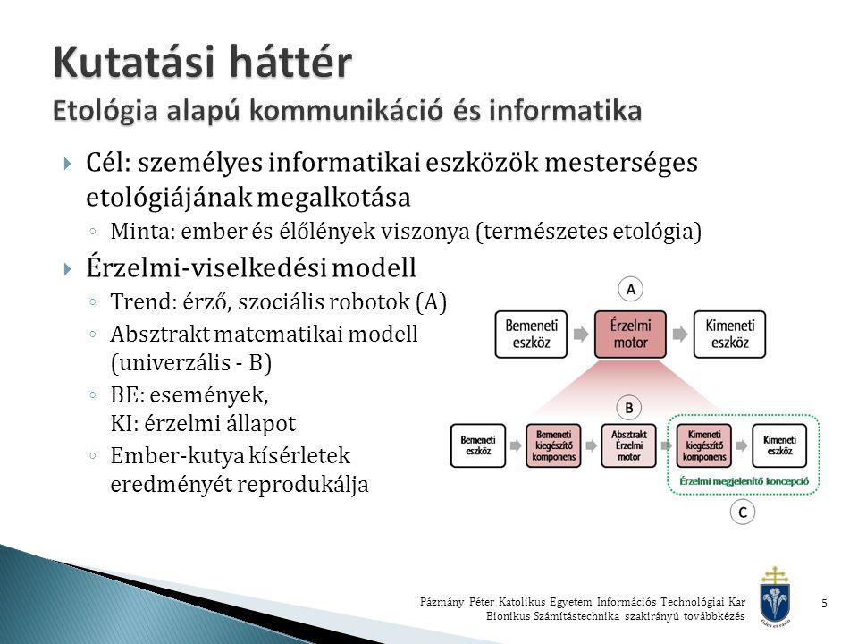  Cél: személyes informatikai eszközök mesterséges etológiájának megalkotása ◦ Minta: ember és élőlények viszonya (természetes etológia)  Érzelmi-viselkedési modell ◦ Trend: érző, szociális robotok (A) ◦ Absztrakt matematikai modell (univerzális - B) ◦ BE: események, KI: érzelmi állapot ◦ Ember-kutya kísérletek eredményét reprodukálja Pázmány Péter Katolikus Egyetem Információs Technológiai Kar Bionikus Számítástechnika szakirányú továbbkézés 5