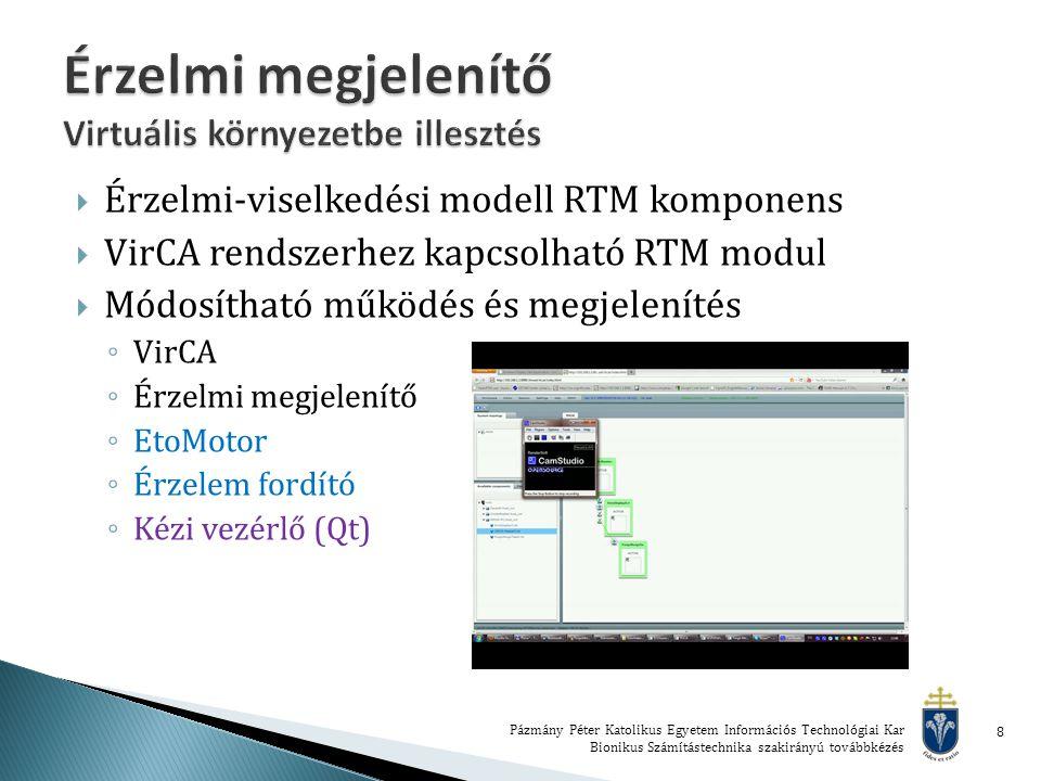  Érzelmi-viselkedési modell RTM komponens  VirCA rendszerhez kapcsolható RTM modul  Módosítható működés és megjelenítés ◦ VirCA ◦ Érzelmi megjelenítő ◦ EtoMotor ◦ Érzelem fordító ◦ Kézi vezérlő (Qt) Pázmány Péter Katolikus Egyetem Információs Technológiai Kar Bionikus Számítástechnika szakirányú továbbkézés 8