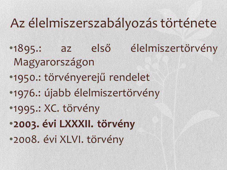 Az élelmiszerszabályozás története 1895.: az első élelmiszertörvény Magyarországon 1950.: törvényerejű rendelet 1976.: újabb élelmiszertörvény 1995.: