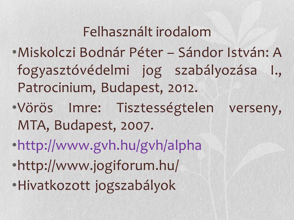 Felhasznált irodalom Miskolczi Bodnár Péter – Sándor István: A fogyasztóvédelmi jog szabályozása I., Patrocinium, Budapest, 2012. Vörös Imre: Tisztess