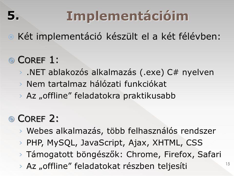 Implementációim 5. 15  Két implementáció készült el a két félévben:  C OREF 1  C OREF 1: ›.NET ablakozós alkalmazás (.exe) C# nyelven › Nem tartalm