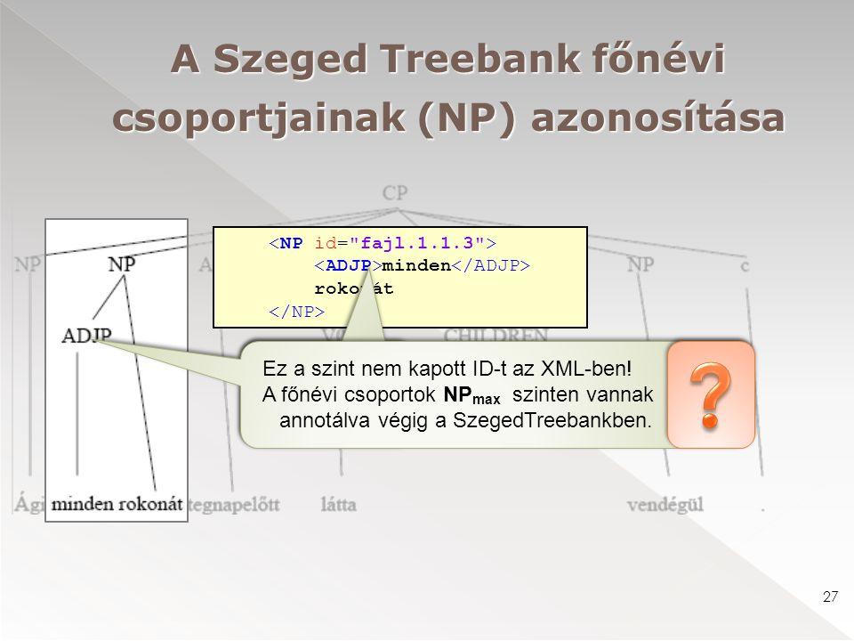 minden rokonát A Szeged Treebank főnévi csoportjainak (NP) azonosítása 27 Ez a szint nem kapott ID-t az XML-ben! A főnévi csoportok NP max szinten van