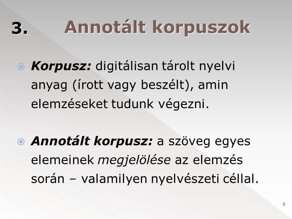 Annotált korpuszok  Korpusz: digitálisan tárolt nyelvi anyag (írott vagy beszélt), amin elemzéseket tudunk végezni.  Annotált korpusz: a szöveg egye