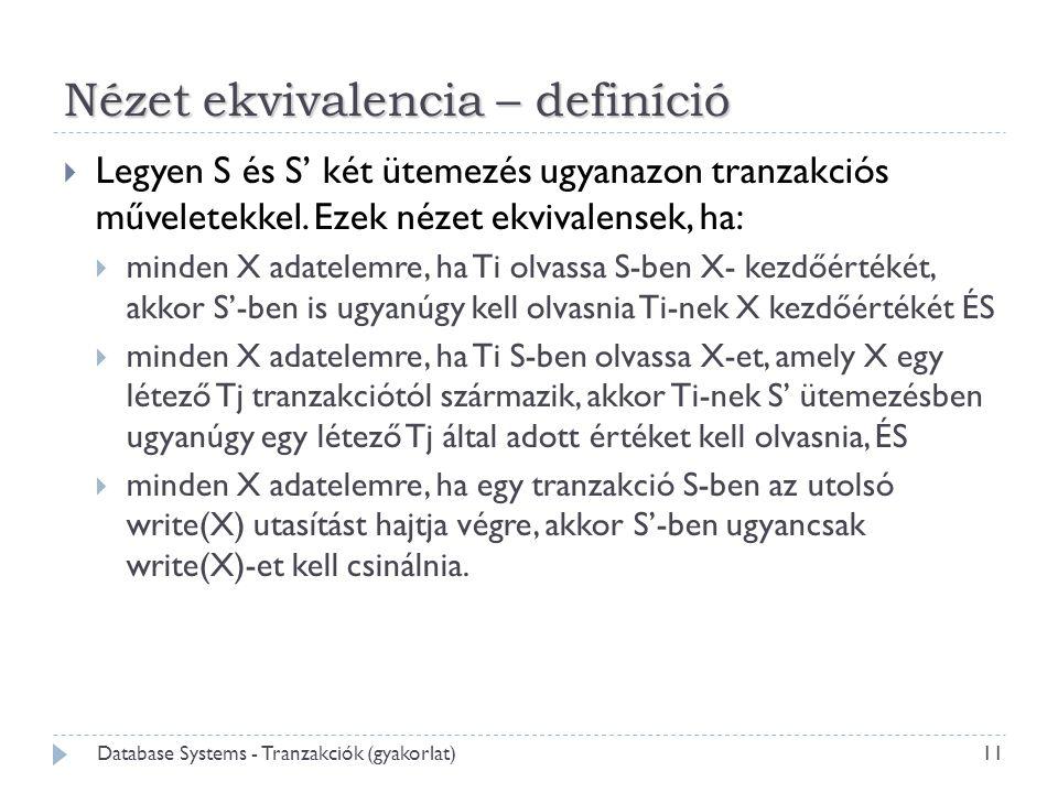Nézet ekvivalencia – definíció  Legyen S és S' két ütemezés ugyanazon tranzakciós műveletekkel. Ezek nézet ekvivalensek, ha:  minden X adatelemre, h