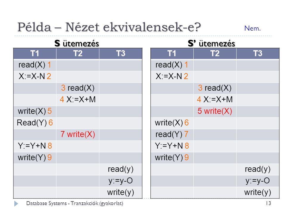 Példa – Nézet ekvivalensek-e.