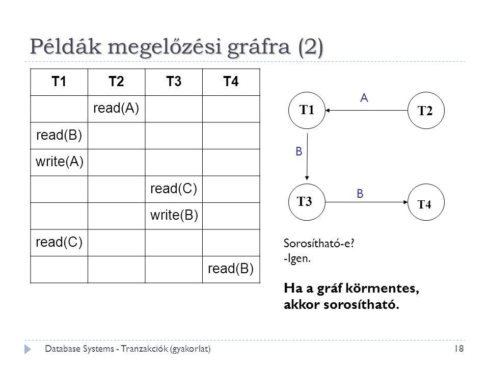 Példák megelőzési gráfra (2) T1T2T3T4 read(A) read(B) write(A) read(C) write(B) read(C) read(B) 18 Database Systems - Tranzakciók (gyakorlat) T1 T2 T3 T4 Sorosítható-e.