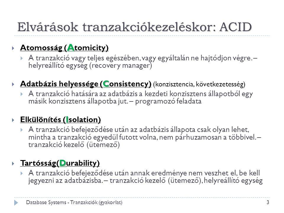 Elvárások tranzakciókezeléskor: ACID A  Atomosság ( A tomicity)  A tranzakció vagy teljes egészében, vagy egyáltalán ne hajtódjon végre. – helyreáll
