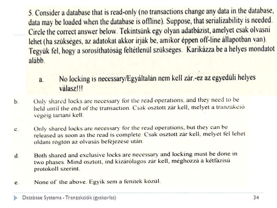 Database Systems - Tranzakciók (gyakorlat) 34
