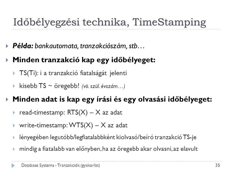 35 Database Systems - Tranzakciók (gyakorlat)  Példa: bankautomata, tranzakciószám, stb…  Minden tranzakció kap egy időbélyeget:  TS(Ti): i a tranzakció fiatalságát jelenti  kisebb TS ~ öregebb.