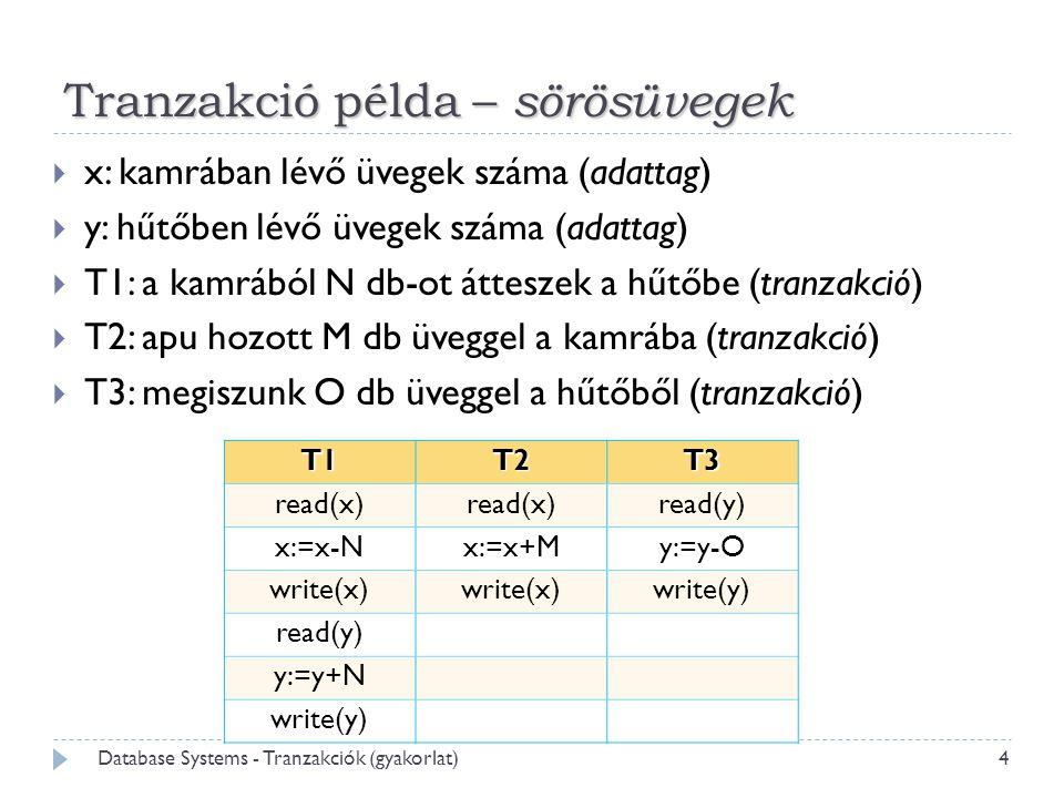 Tranzakció példa – sörösüvegek  x: kamrában lévő üvegek száma (adattag)  y: hűtőben lévő üvegek száma (adattag)  T1: a kamrából N db-ot átteszek a hűtőbe (tranzakció)  T2: apu hozott M db üveggel a kamrába (tranzakció)  T3: megiszunk O db üveggel a hűtőből (tranzakció) T1T2T3 read(x) read(y) x:=x-Nx:=x+My:=y-O write(x) write(y) read(y) y:=y+N write(y) 4 Database Systems - Tranzakciók (gyakorlat)