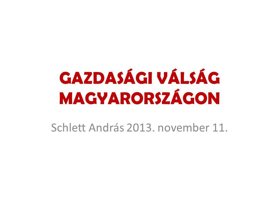 GAZDASÁGI VÁLSÁG MAGYARORSZÁGON Schlett András 2013. november 11.