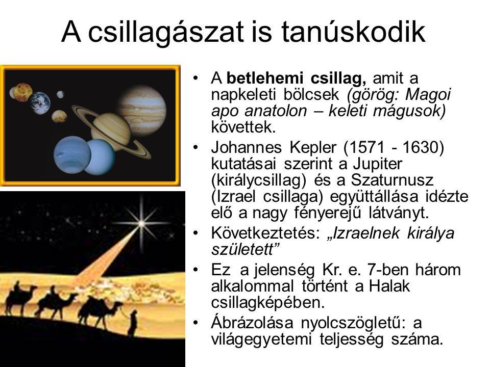A csillagászat is tanúskodik A betlehemi csillag, amit a napkeleti bölcsek (görög: Magoi apo anatolon – keleti mágusok) követtek. Johannes Kepler (157