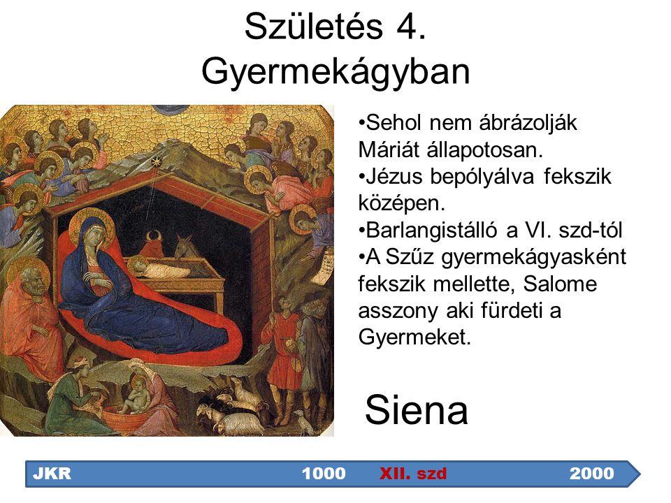 Siena JKR1000 XII. szd2000 Sehol nem ábrázolják Máriát állapotosan. Jézus bepólyálva fekszik középen. Barlangistálló a VI. szd-tól A Szűz gyermekágyas