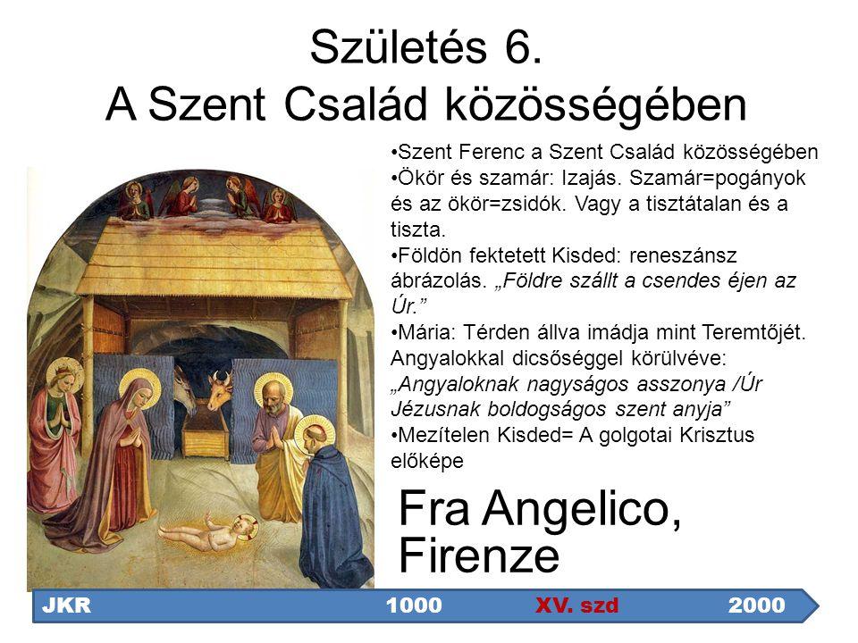 Fra Angelico, Firenze JKR1000 XV. szd2000 Szent Ferenc a Szent Család közösségében Ökör és szamár: Izajás. Szamár=pogányok és az ökör=zsidók. Vagy a t