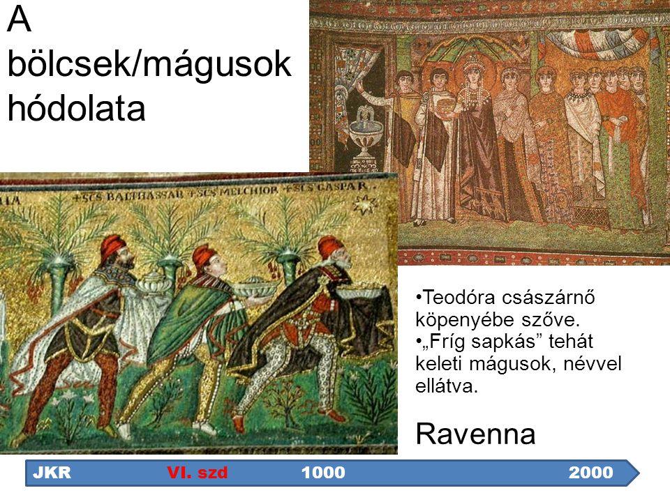 """A bölcsek/mágusok hódolata Teodóra császárnő köpenyébe szőve. """"Fríg sapkás"""" tehát keleti mágusok, névvel ellátva. Ravenna JKRVI. szd1000 2000"""