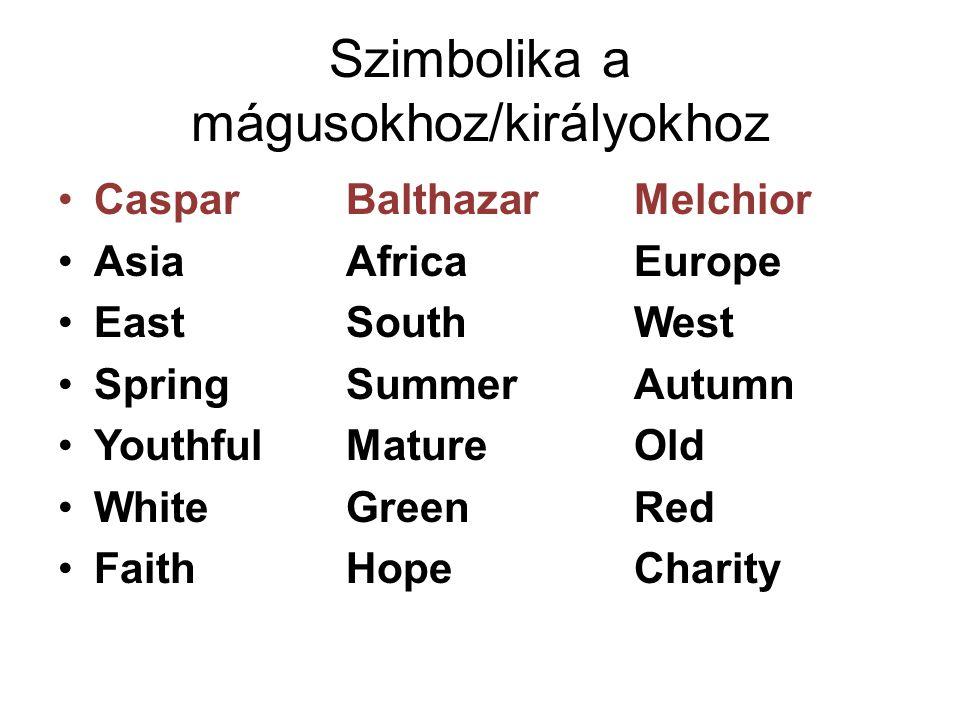 Szimbolika a mágusokhoz/királyokhoz Caspar BalthazarMelchior Asia AfricaEurope EastSouthWest SpringSummerAutumn YouthfulMatureOld WhiteGreenRed FaithH