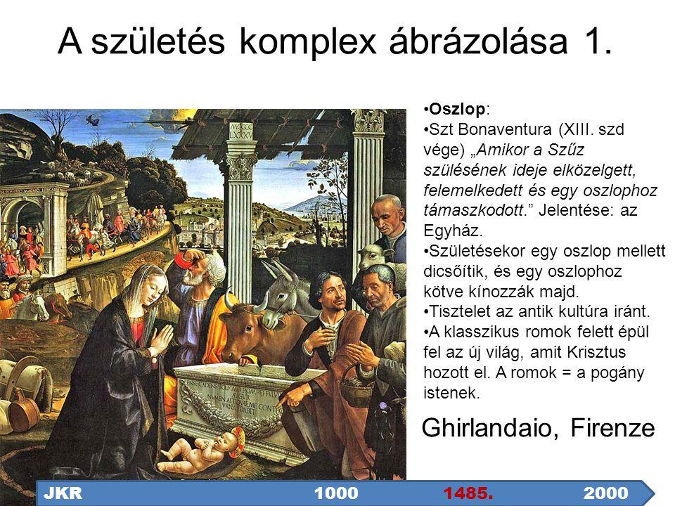 """A születés komplex ábrázolása 1. Ghirlandaio, Firenze JKR1000 1485.2000 Oszlop: Szt Bonaventura (XIII. szd vége) """"Amikor a Szűz szülésének ideje elköz"""