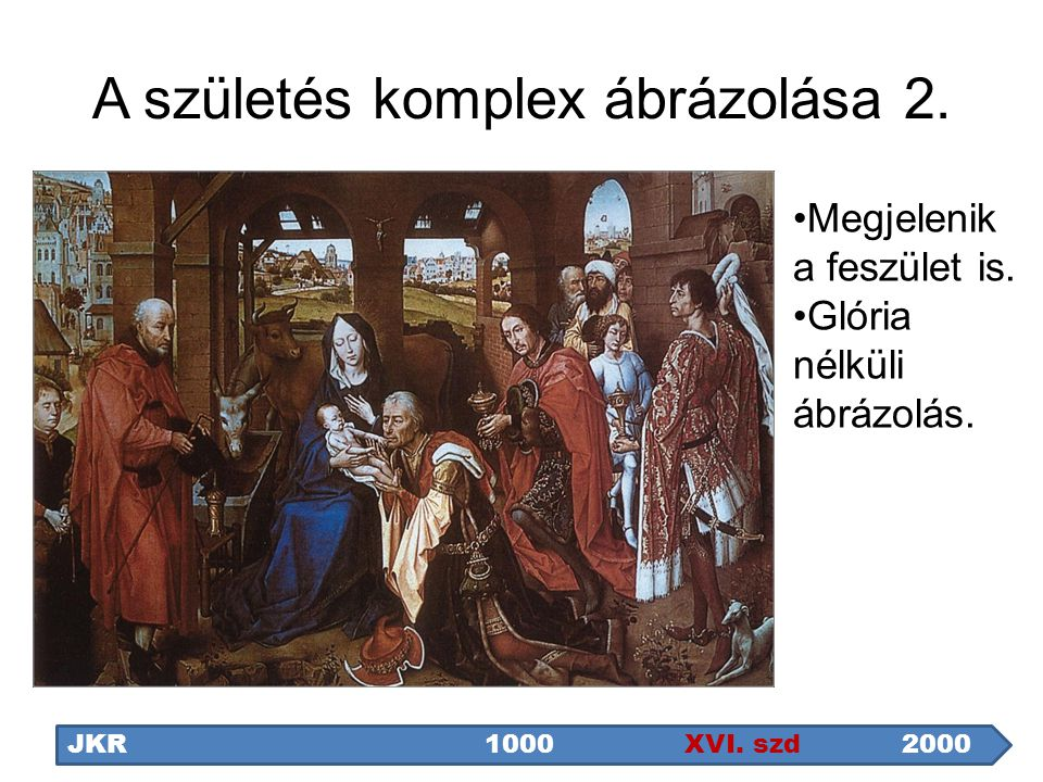 A születés komplex ábrázolása 2. JKR1000 XVI. szd2000 Megjelenik a feszület is. Glória nélküli ábrázolás.