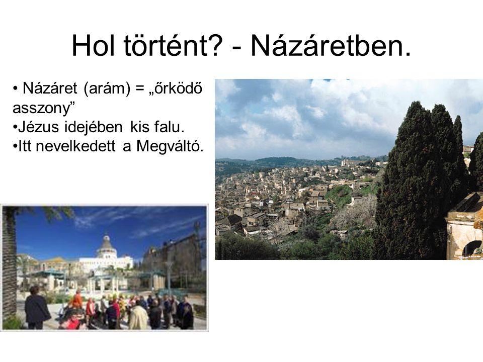 """Hol történt? - Názáretben. Názáret (arám) = """"őrködő asszony"""" Jézus idejében kis falu. Itt nevelkedett a Megváltó."""