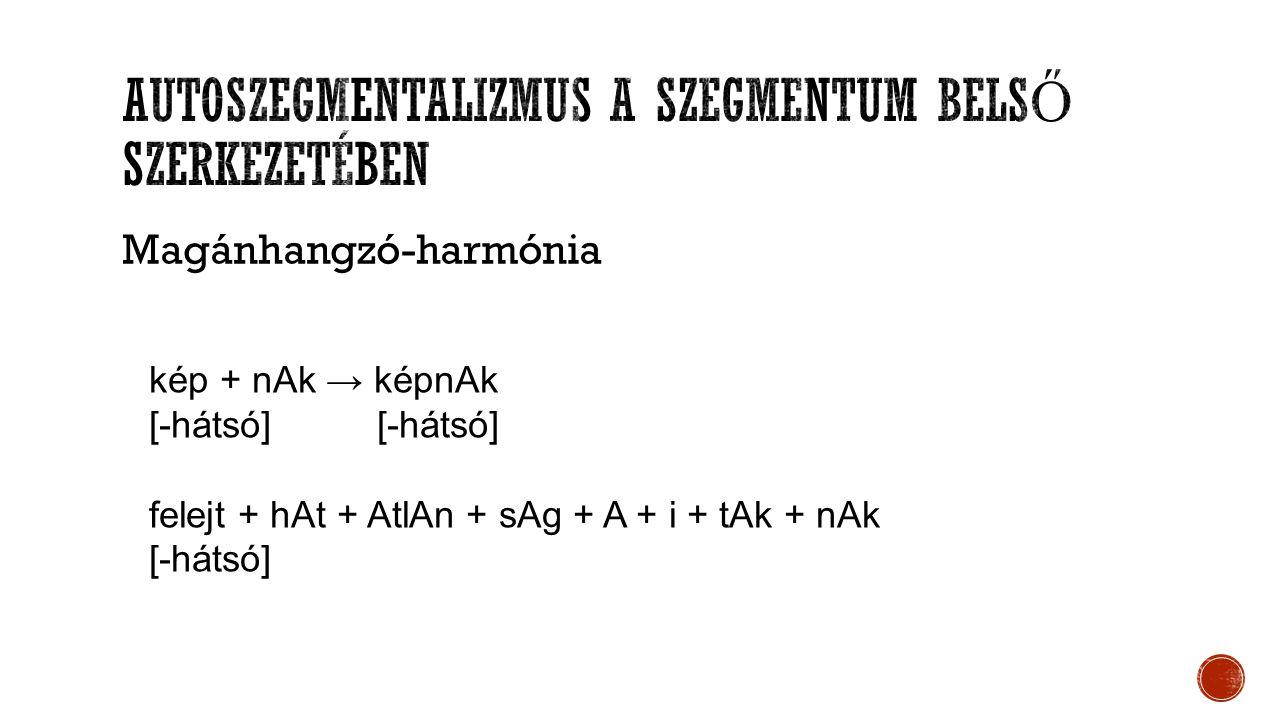 Magánhangzó-harmónia kép + nAk → képnAk [-hátsó] felejt + hAt + AtlAn + sAg + A + i + tAk + nAk [-hátsó]