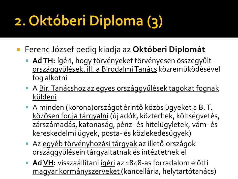 Ferenc József pedig kiadja az Októberi Diplomát  Ad TH: ígéri, hogy törvényeket törvényesen összegyűlt országgyűlések, ill. a Birodalmi Tanács közr