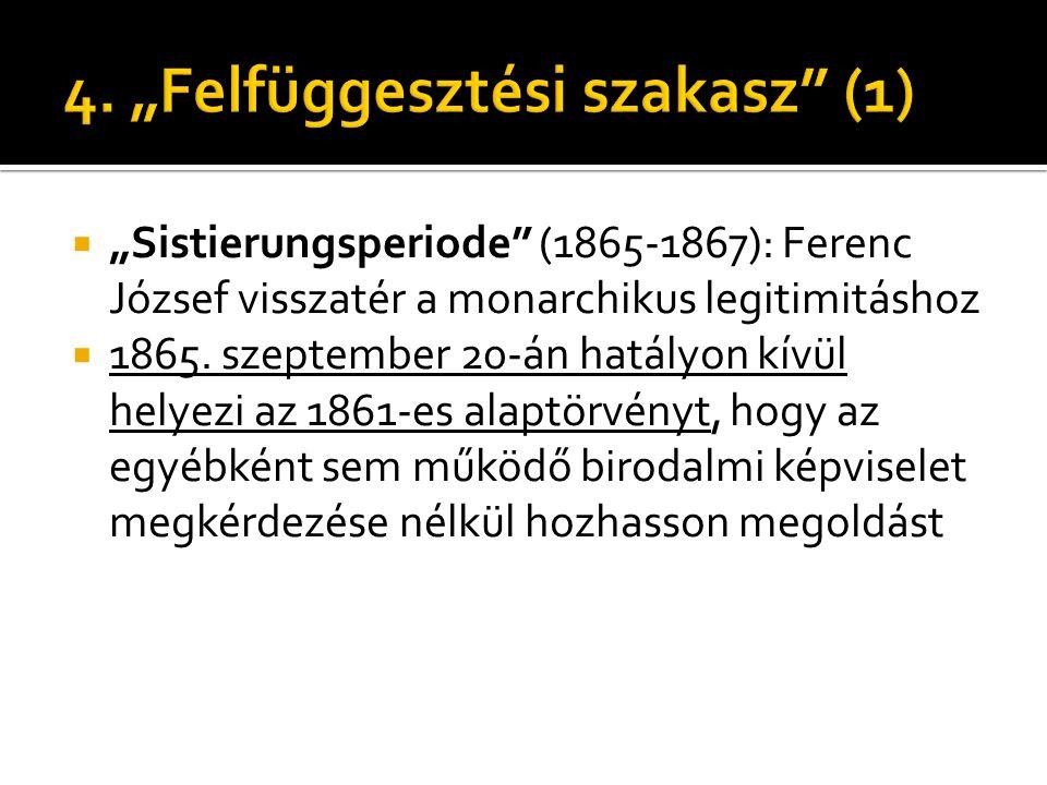 """ """"Sistierungsperiode"""" (1865-1867): Ferenc József visszatér a monarchikus legitimitáshoz  1865. szeptember 20-án hatályon kívül helyezi az 1861-es al"""