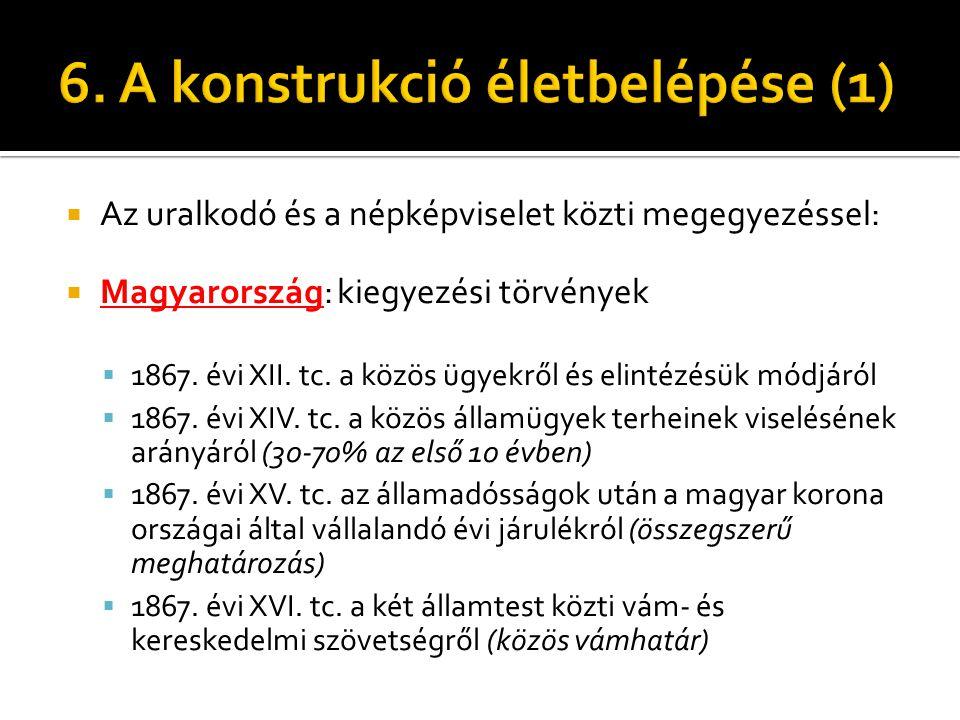  Az uralkodó és a népképviselet közti megegyezéssel:  Magyarország: kiegyezési törvények  1867. évi XII. tc. a közös ügyekről és elintézésük módjár