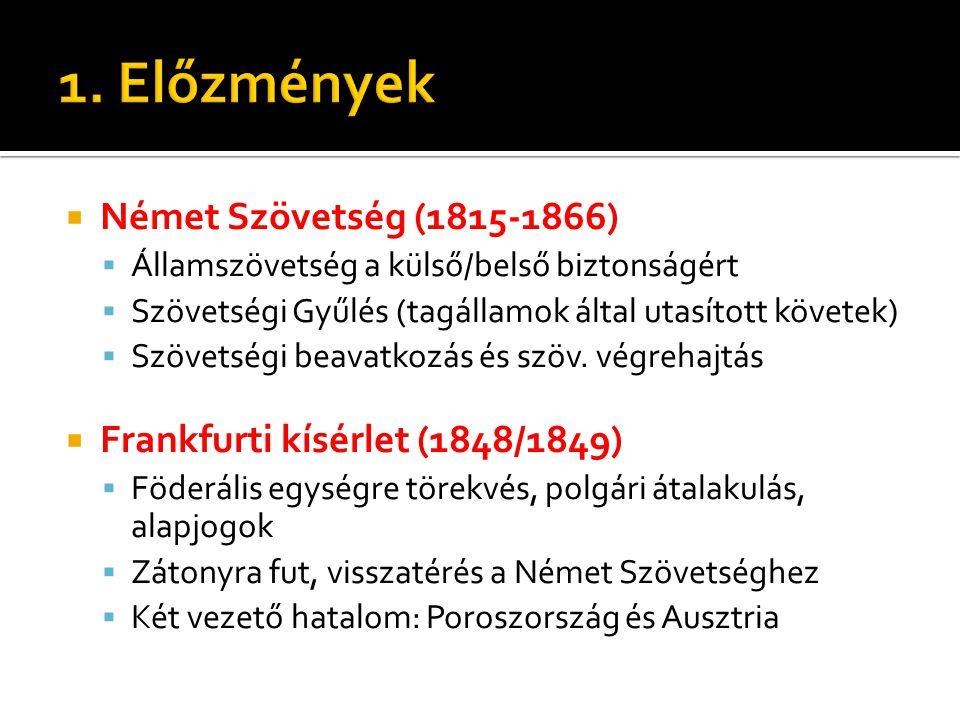  Német Szövetség (1815-1866)  Államszövetség a külső/belső biztonságért  Szövetségi Gyűlés (tagállamok által utasított követek)  Szövetségi beavat