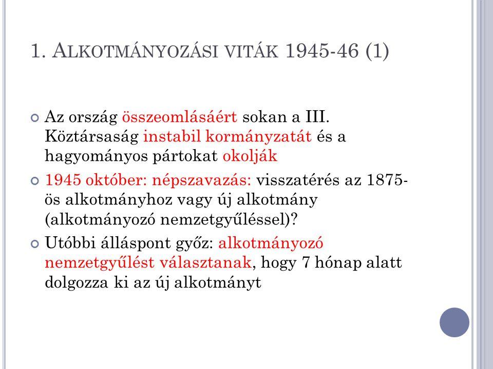 1.A LKOTMÁNYOZÁSI VITÁK 1945-46 (1) Az ország összeomlásáért sokan a III.