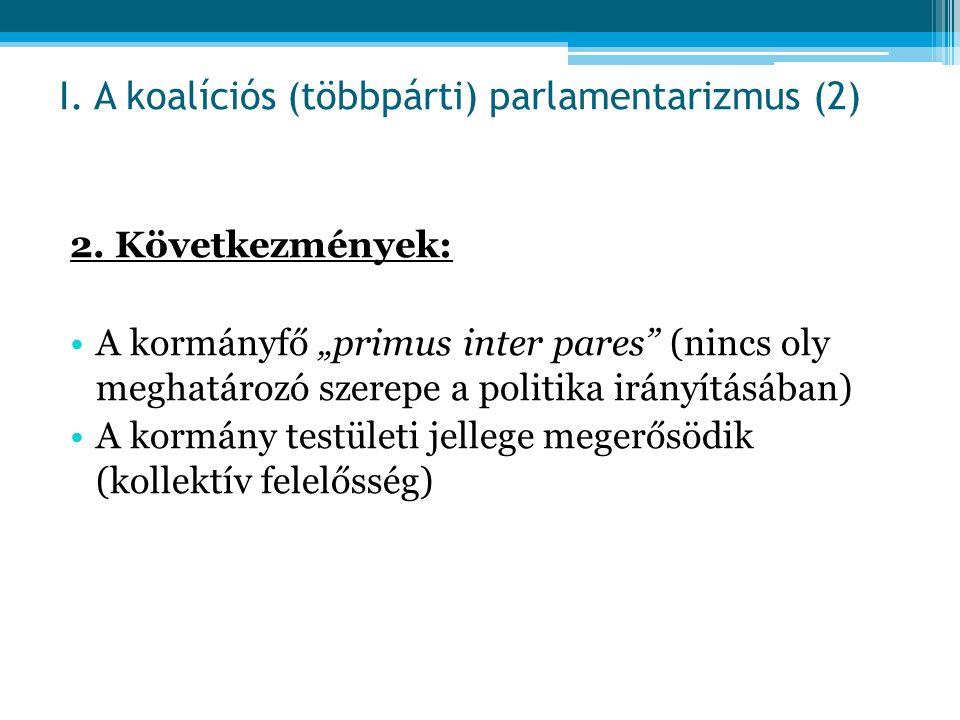 """2. Következmények: A kormányfő """"primus inter pares"""" (nincs oly meghatározó szerepe a politika irányításában) A kormány testületi jellege megerősödik ("""