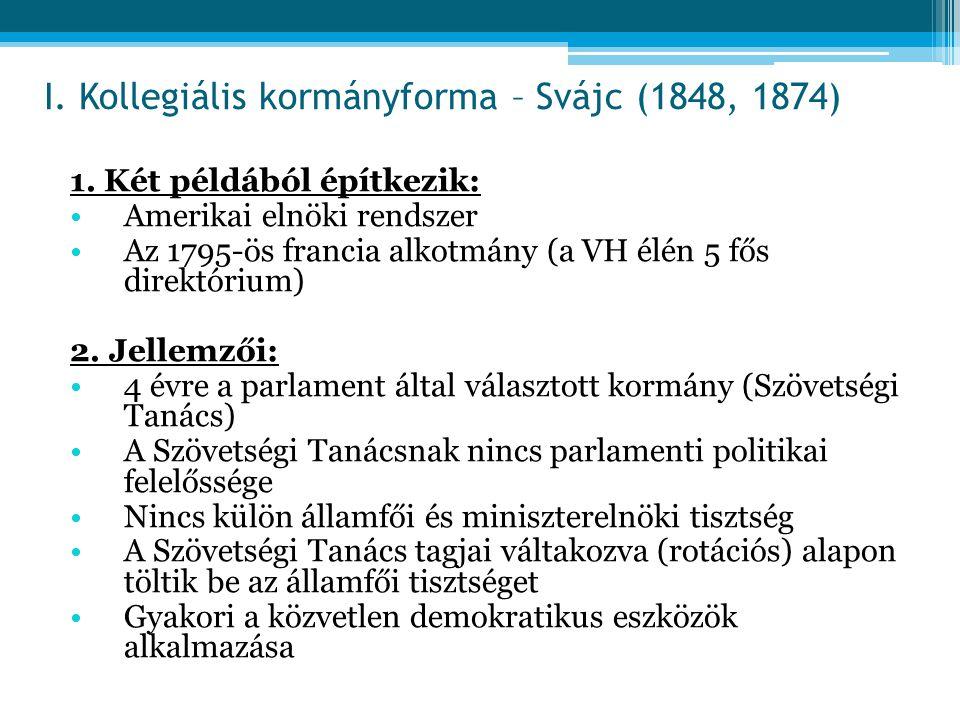 1. Két példából építkezik: Amerikai elnöki rendszer Az 1795-ös francia alkotmány (a VH élén 5 fős direktórium) 2. Jellemzői: 4 évre a parlament által