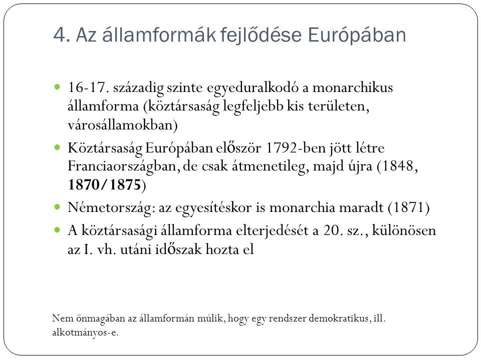 4. Az államformák fejlődése Európában 16-17. századig szinte egyeduralkodó a monarchikus államforma (köztársaság legfeljebb kis területen, városállamo