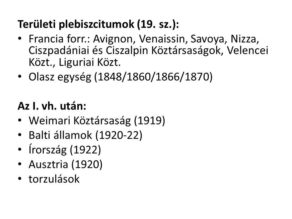 Területi plebiszcitumok (19. sz.): Francia forr.: Avignon, Venaissin, Savoya, Nizza, Ciszpadániai és Ciszalpin Köztársaságok, Velencei Közt., Liguriai
