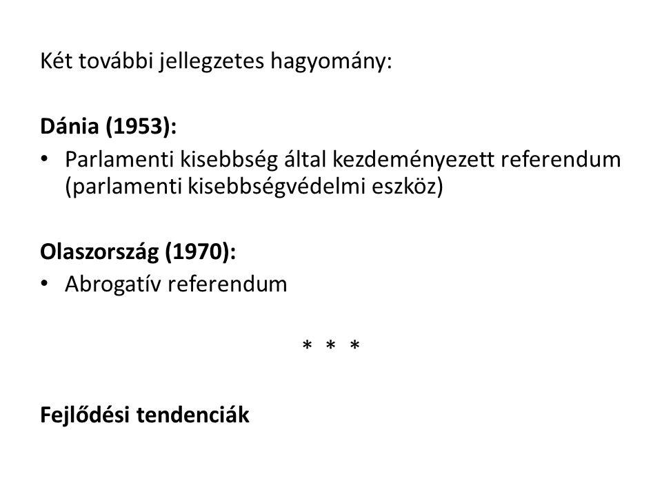 Két további jellegzetes hagyomány: Dánia (1953): Parlamenti kisebbség által kezdeményezett referendum (parlamenti kisebbségvédelmi eszköz) Olaszország