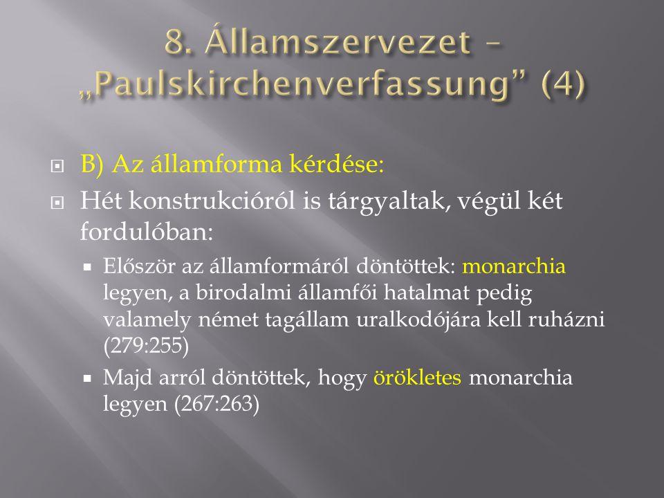  B) Az államforma kérdése:  Hét konstrukcióról is tárgyaltak, végül két fordulóban:  Először az államformáról döntöttek: monarchia legyen, a biroda