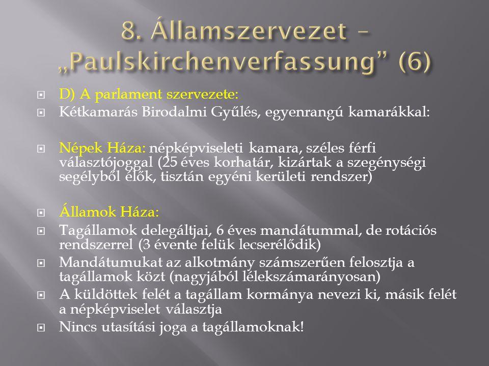  D) A parlament szervezete:  Kétkamarás Birodalmi Gyűlés, egyenrangú kamarákkal:  Népek Háza: népképviseleti kamara, széles férfi választójoggal (2