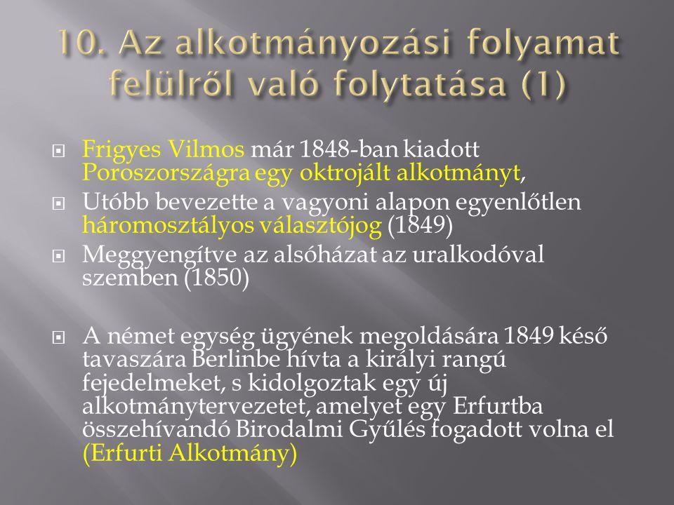 Frigyes Vilmos már 1848-ban kiadott Poroszországra egy oktrojált alkotmányt,  Utóbb bevezette a vagyoni alapon egyenlőtlen háromosztályos választój