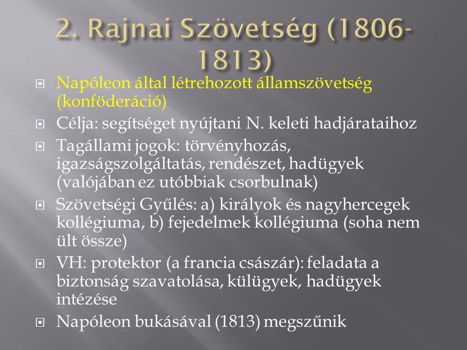  Napóleon által létrehozott államszövetség (konföderáció)  Célja: segítséget nyújtani N. keleti hadjárataihoz  Tagállami jogok: törvényhozás, igazs