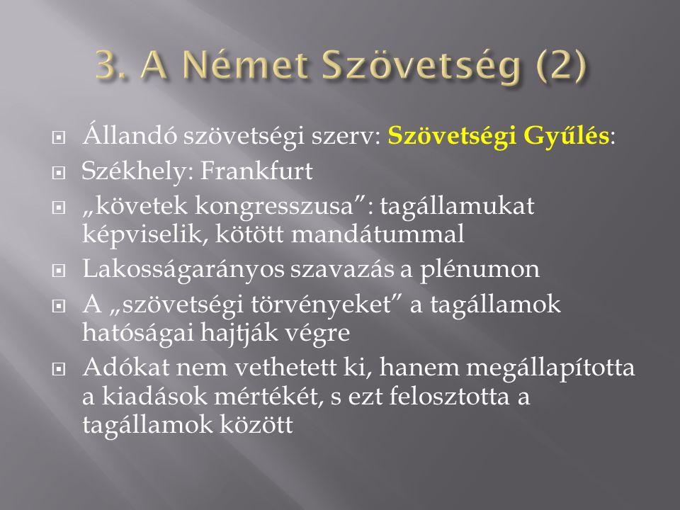 """ Állandó szövetségi szerv: Szövetségi Gyűlés :  Székhely: Frankfurt  """"követek kongresszusa"""": tagállamukat képviselik, kötött mandátummal  Lakosság"""