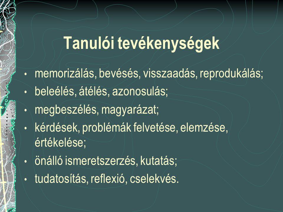 Tanulói tevékenységek memorizálás, bevésés, visszaadás, reprodukálás; beleélés, átélés, azonosulás; megbeszélés, magyarázat; kérdések, problémák felve