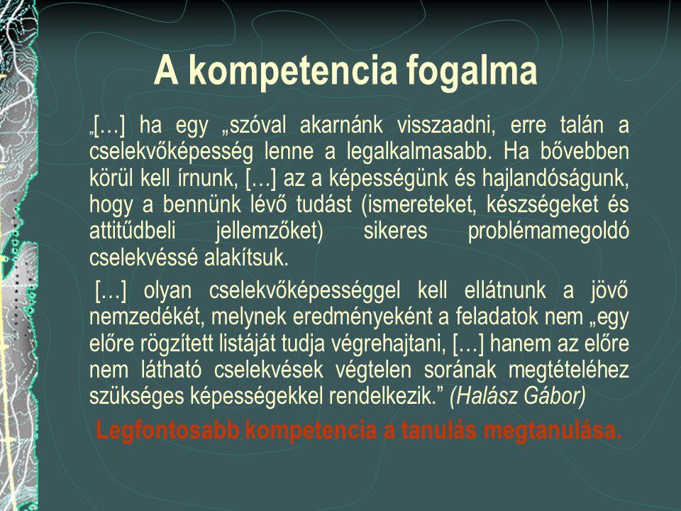 """A kompetencia fogalma """" […] ha egy """"szóval akarnánk visszaadni, erre talán a cselekvőképesség lenne a legalkalmasabb. Ha bővebben körül kell írnunk, ["""